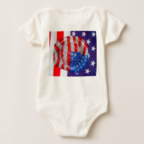 American Cowboy Hat on The USA Flag Baby Bodysuit