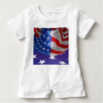 American Cowboy Hat on The USA Flag Baby Romper