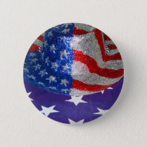 American Cowboy Hat on The USA Flag Button