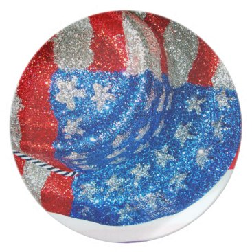 American Cowboy Hat on The USA Flag Dinner Plate