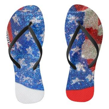 American Cowboy Hat on The USA Flag Flip Flops