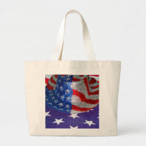 American Cowboy Hat on The USA Flag Large Tote Bag
