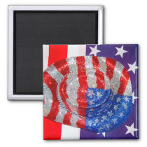 American Cowboy Hat on The USA Flag Magnet
