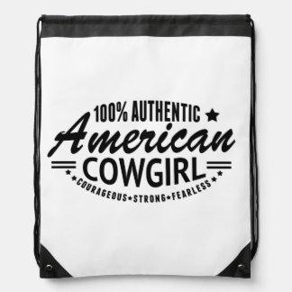 American Cowgirl Drawstring Backpack Black Logo