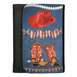American Cowgirl red white blue western boots Wallet