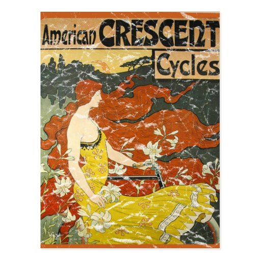 American Crescent Cycles - distressed Post Card