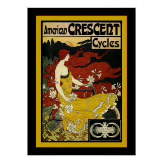 American Crescent Cycles~Vintage Advertising Poster