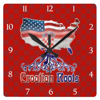American Croatian Roots Square Clock