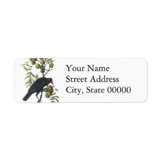 American Crow John James Audubon Custom Return Address Label