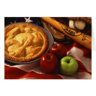 American Cultural Icons Apple Pie Baseball & Flag Card