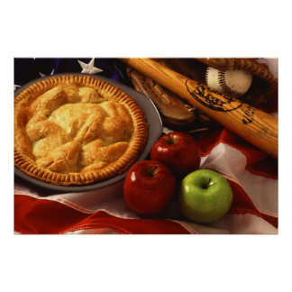 American Cultural Icons Apple Pie Baseball & Flag Poster