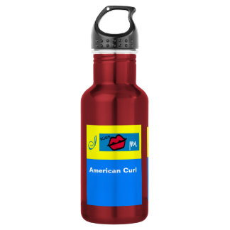 """""""American Curl Cat"""" I Kiss My? Stainless Steel Water Bottle"""