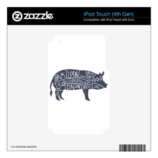 American cuts of pork, vintage typographic decal for iPod touch 4G
