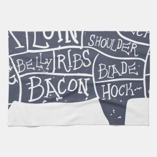 American cuts of pork, vintage typographic hand towel