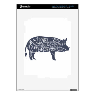 American cuts of pork, vintage typographic skin for iPad 3