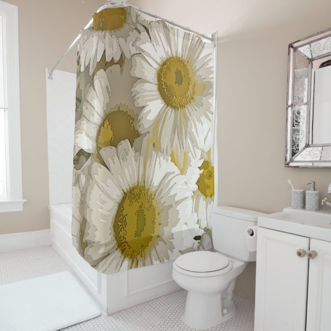 American Daisies Summer Floral Shower Curtain