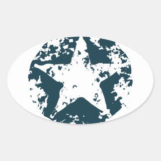 American Distressed Star Oval Sticker