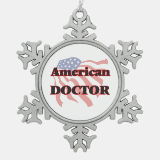 American Doctor Snowflake Pewter Christmas Ornament