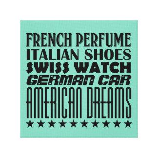 American Dreams - Mixed Typography (Black) Canvas Print