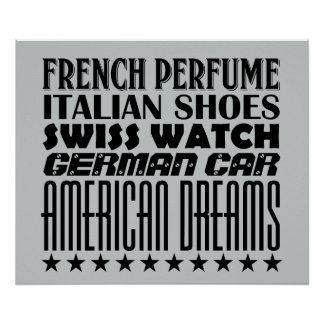 American Dreams - Mixed Typography (Black) Poster
