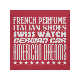 American Dreams - Mixed Typography (Gray) Canvas Print