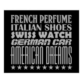 American Dreams - Mixed Typography (Gray) Poster