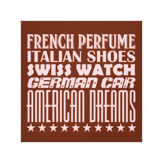 American Dreams - Mixed Typography (Pink) Canvas Print