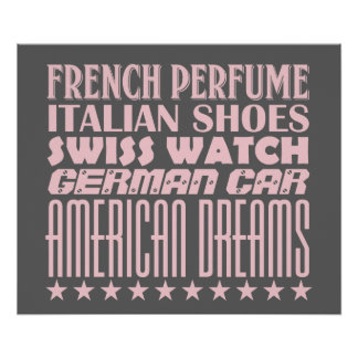 American Dreams - Mixed Typography (Pink) Poster