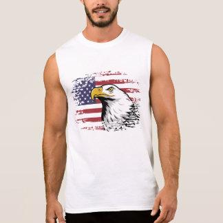 American eagle against USA flag background. Sleeveless Tees