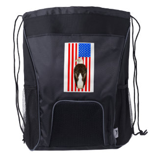 American Eagle And American Flag Drawstring Backpack