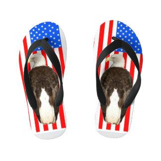 American Eagle And American Flag Kid's Flip Flops