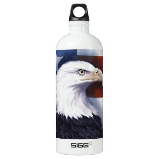 American Eagle and Flag Aluminum Water Bottle