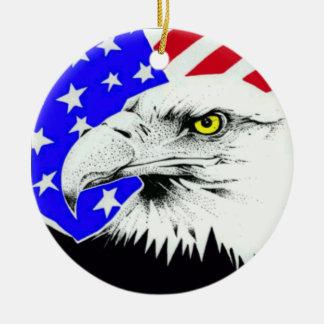 AMERICAN EAGLE AND FLAG CERAMIC ORNAMENT