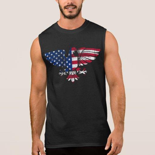 American Eagle and Flag Design. Sleeveless Tshirt.