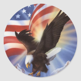 american-eagle-and-flag-ii classic round sticker