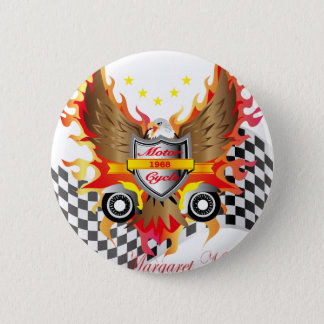 American Eagle and Motor cycle speed flag Pinback Button