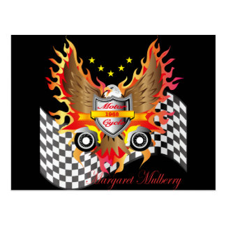 American Eagle and Motor cycle speed flag Postcard