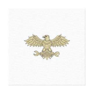 American Eagle Clutching Spanner Drawing Canvas Print