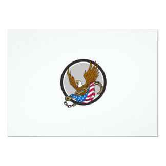 American Eagle Clutching Towing J Hook Flag Circle Card