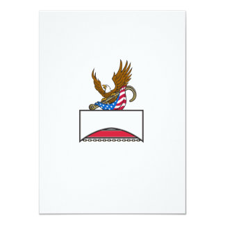 American Eagle Clutching Towing J Hook Flag Retro Card