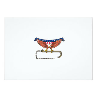 American Eagle Clutching Towing J Hook USA Flag Re Card