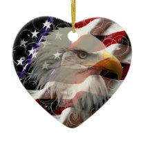American Eagle Flag Heart Ornament