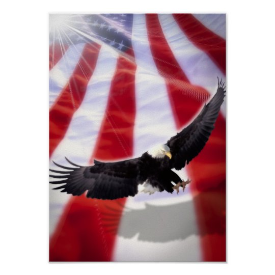 American Eagle & Flag Poster