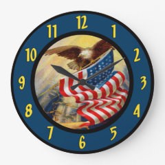 American Eagle Flag Wall Clock