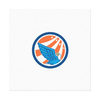 American Eagle Flying Looking Up Retro Canvas Print