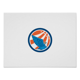 American Eagle Flying Looking Up Retro Print
