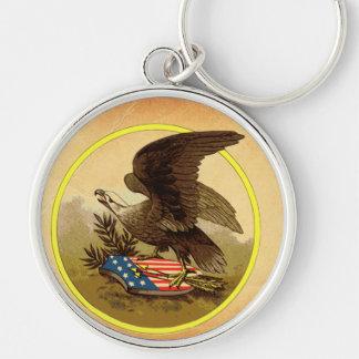American Eagle Llavero Redondo Plateado