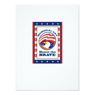 """American Eagle Memorial Day Poster Greeting Card 5.5"""" X 7.5"""" Invitation Card"""