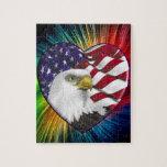 American Eagle n Flag Jigsaw Puzzle