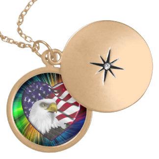 American Eagle n Flag Locket Necklace